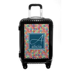 Retro Squares Carry On Hard Shell Suitcase (Personalized)