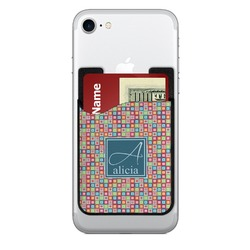 Retro Squares 2-in-1 Cell Phone Credit Card Holder & Screen Cleaner (Personalized)