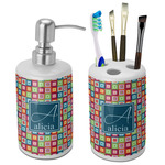 Retro Squares Bathroom Accessories Set (Ceramic) (Personalized)