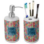 Retro Squares Bathroom Accessories Set (Ceramic) (Personalized)