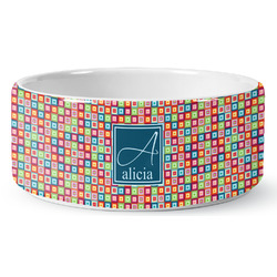 Retro Squares Ceramic Dog Bowl (Personalized)