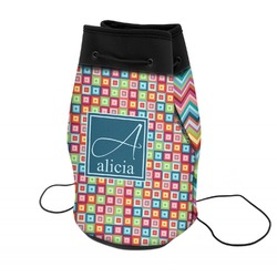 Retro Squares Neoprene Drawstring Backpack (Personalized)
