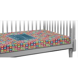 Retro Squares Crib Fitted Sheet (Personalized)