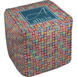 Retro Squares Cube Pouf Ottoman (Personalized)
