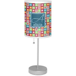 """Retro Squares 7"""" Drum Lamp with Shade (Personalized)"""