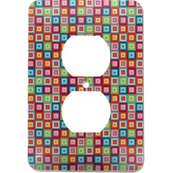 Retro Squares Electric Outlet Plate (Personalized)