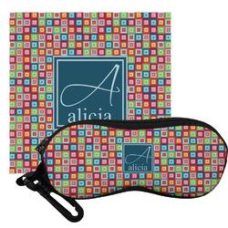 Retro Squares Eyeglass Case & Cloth (Personalized)