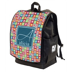 Retro Squares Backpack w/ Front Flap  (Personalized)