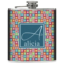 Retro Squares Genuine Leather Flask (Personalized)