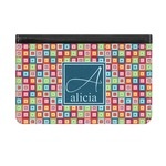 Retro Squares Genuine Leather ID & Card Wallet - Slim Style (Personalized)