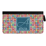 Retro Squares Genuine Leather Ladies Zippered Wallet (Personalized)
