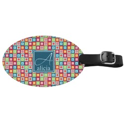 Retro Squares Genuine Leather Oval Luggage Tag (Personalized)
