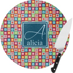 Retro Squares Round Glass Cutting Board (Personalized)