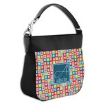 Retro Squares Hobo Purse w/ Genuine Leather Trim (Personalized)