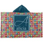 Retro Squares Kids Hooded Towel (Personalized)