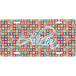 Retro Squares Front License Plate (Personalized)