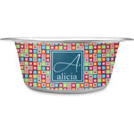 Retro Squares Stainless Steel Dog Bowl (Personalized)
