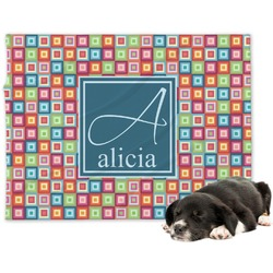 Retro Squares Minky Dog Blanket (Personalized)