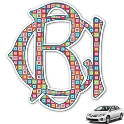 Retro Squares Monogram Car Decal (Personalized)