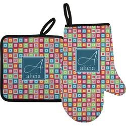 Retro Squares Oven Mitt & Pot Holder (Personalized)