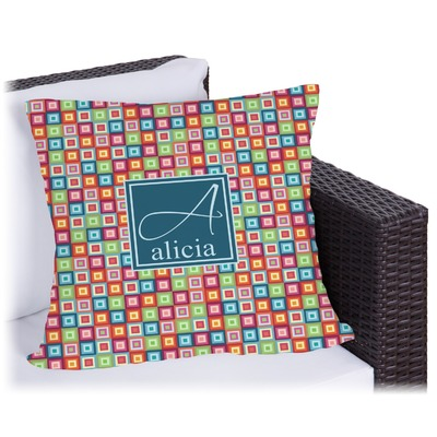 Retro Squares Outdoor Pillow (Personalized)
