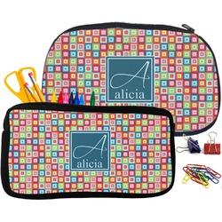 Retro Squares Pencil / School Supplies Bag (Personalized)
