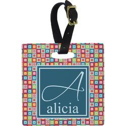 Retro Squares Square Luggage Tag (Personalized)