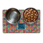 Retro Squares Dog Food Mat (Personalized)