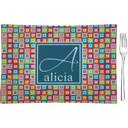 Retro Squares Glass Rectangular Appetizer / Dessert Plate - Single or Set (Personalized)