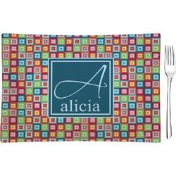 Retro Squares Glass Rectangular Appetizer / Dessert Plate - Single or Set (Personalized)