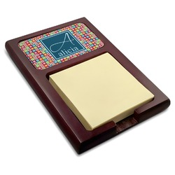 Retro Squares Red Mahogany Sticky Note Holder (Personalized)