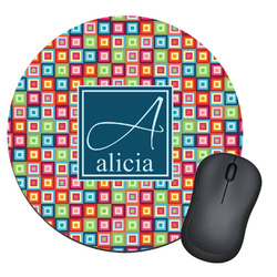 Retro Squares Round Mouse Pad (Personalized)