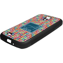 Retro Squares Rubber Samsung Galaxy 4 Phone Case (Personalized)