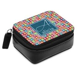 Retro Squares Small Leatherette Travel Pill Case (Personalized)