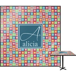 Retro Squares Square Table Top (Personalized)