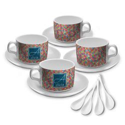 Retro Squares Tea Cup - Set of 4 (Personalized)