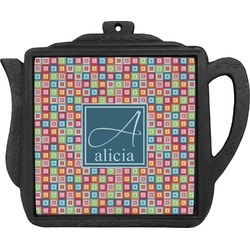 Retro Squares Teapot Trivet (Personalized)