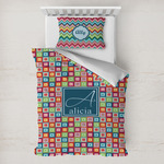 Retro Squares Toddler Bedding w/ Name and Initial