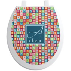Retro Squares Toilet Seat Decal (Personalized)
