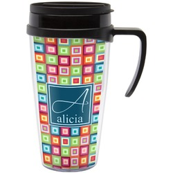 Retro Squares Travel Mug with Handle (Personalized)