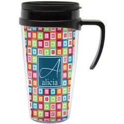 Retro Squares Travel Mug with Handle (Personalized)