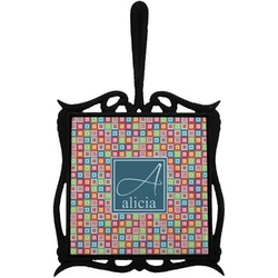 Retro Squares Trivet with Handle (Personalized)
