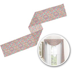Retro Squares Window Sheer Scarf Valance (Personalized)