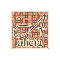 Retro Squares Genuine Wood Sticker (Personalized)