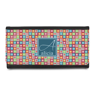 Retro Squares Leatherette Ladies Wallet (Personalized)