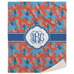Blue Parrot Sherpa Throw Blanket (Personalized)