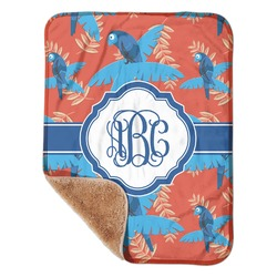 """Blue Parrot Sherpa Baby Blanket 30"""" x 40"""" (Personalized)"""
