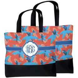Blue Parrot Beach Tote Bag (Personalized)