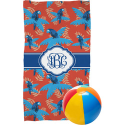Blue Parrot Beach Towel (Personalized)
