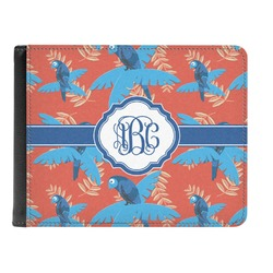 Blue Parrot Genuine Leather Men's Bi-fold Wallet (Personalized)